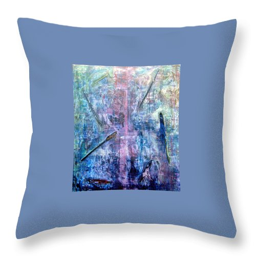 Abstract Throw Pillow featuring the painting Seven Zippers by Nancy Mueller