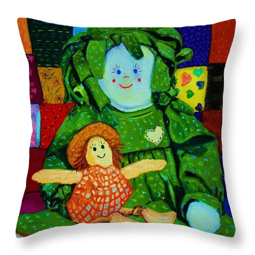 Dolls Throw Pillow featuring the print Sew Sweet by Melinda Etzold