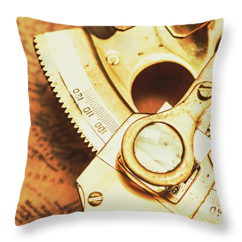 Navigation Throw Pillow featuring the photograph Sextant Sailing Navigation Tool by Jorgo Photography - Wall Art Gallery