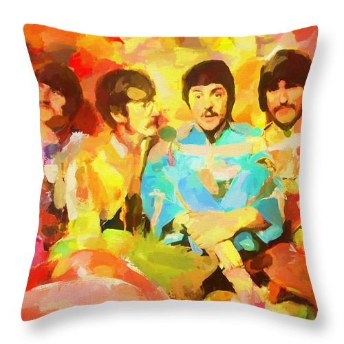 Sgt. Peppers Lonely Hearts Throw Pillow featuring the painting Sgt. Peppers Lonely Hearts by Dan Sproul