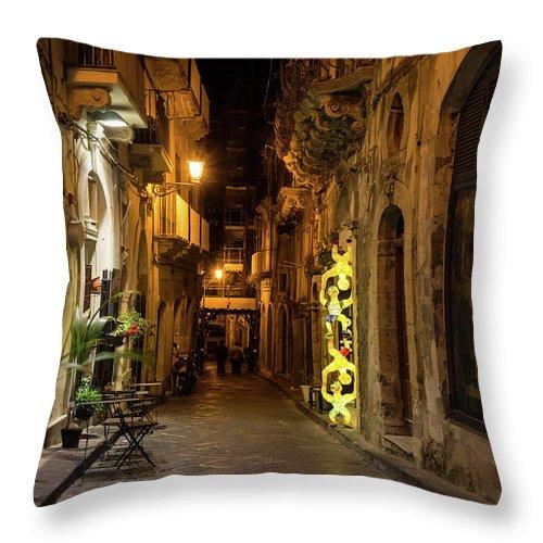 Georgia Mizuleva Throw Pillow featuring the photograph Shabby Chic - Small Street Night Walk In Syracuse Sicily by Georgia Mizuleva