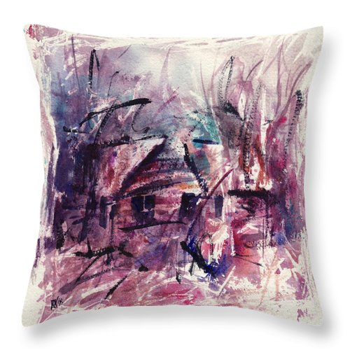 Shack Throw Pillow featuring the painting Shack First Movement by Rachel Christine Nowicki