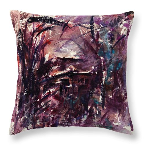 Shack Throw Pillow featuring the painting Shack Second Movement by Rachel Christine Nowicki