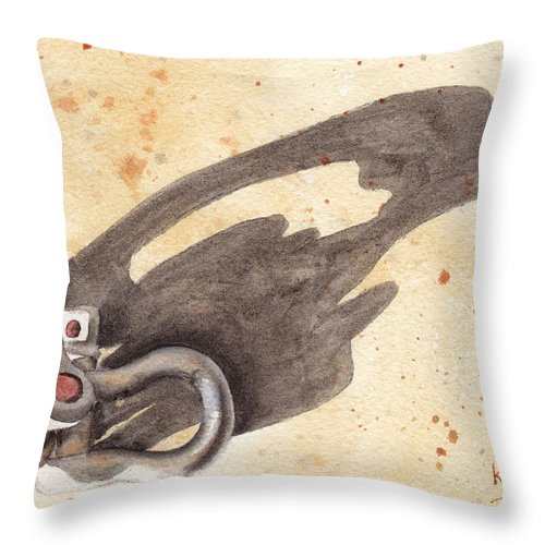 Shackles Throw Pillow featuring the painting Shackles With Five O Clock Shadow by Ken Powers