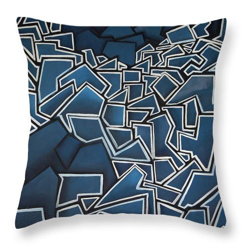 Abstract Throw Pillow featuring the painting Shadderd Space by Thomas Valentine