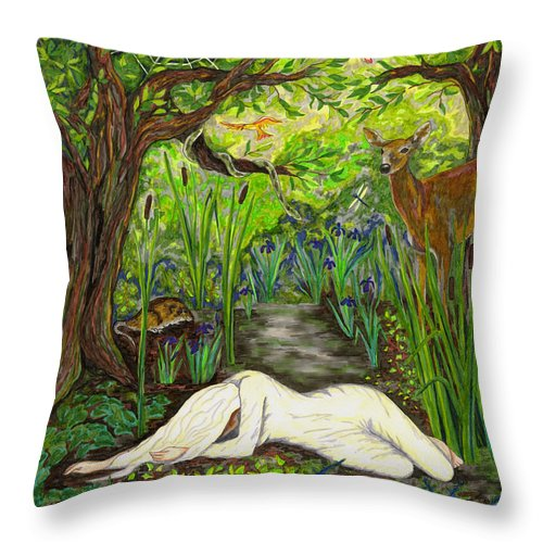 Birds Throw Pillow featuring the drawing Shade Falls by FT McKinstry