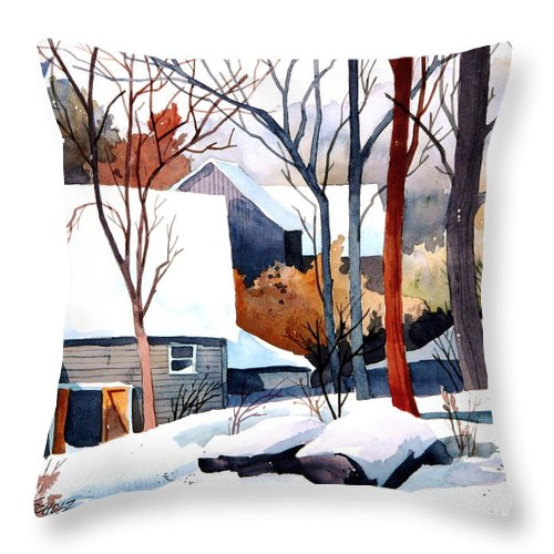 Winter Landscape Throw Pillow featuring the painting Shades Of Winter by Art Scholz