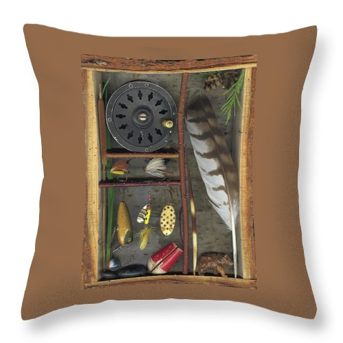 Shadow Box Throw Pillow featuring the mixed media Shadow Box A by Sandi F Hutchins