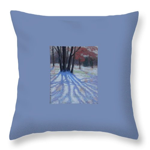 Snowy Blue Shadows Throw Pillow featuring the painting Shadow Catcher by Julie Mayser