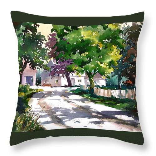 Tree Lined Driveway Throw Pillow featuring the painting Shadow Colors by Art Scholz