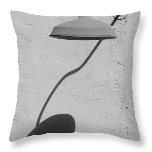 Black And White Throw Pillow featuring the photograph Shadow Lamp by Rob Hans