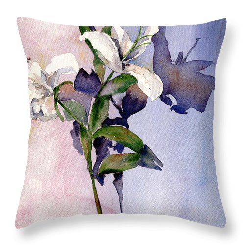 Lillies Throw Pillow featuring the painting Shadow Lilies by Arline Wagner