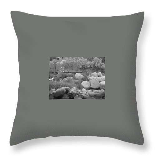 B/w Shoreline Throw Pillow featuring the photograph Shadow Mountain Shoreline by Jacqueline Russell