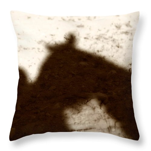 Shadow Throw Pillow featuring the photograph Shadow Of Horse And Girl by Angela Rath