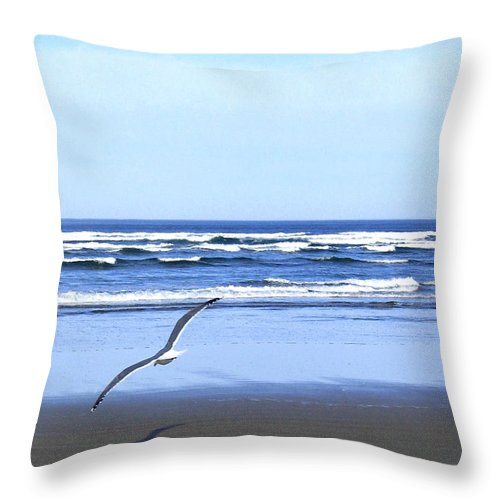 Seagull Throw Pillow featuring the photograph Shadow On The Sand by Will Borden