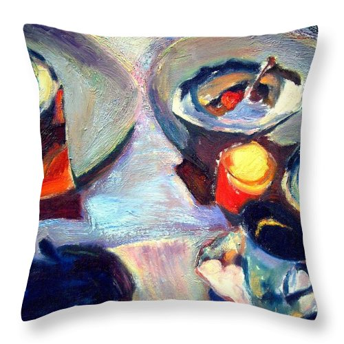 Dornberg Throw Pillow featuring the painting Shadows And Jam by Bob Dornberg