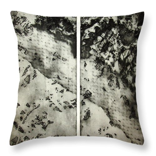 Etching Throw Pillow featuring the drawing Shadows And Lace by Nancy Mueller