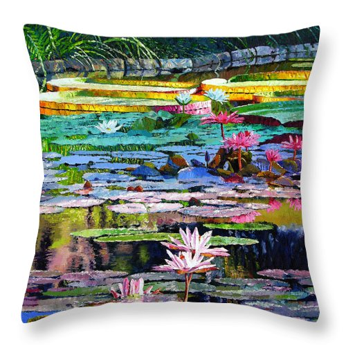 Water Lilies Throw Pillow featuring the painting Shadows And Sunlight by John Lautermilch