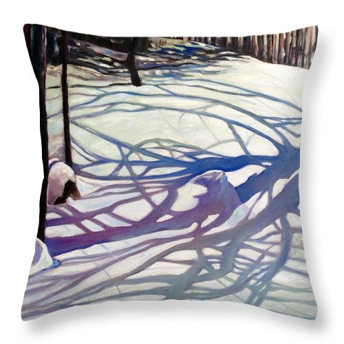 Snow Throw Pillow featuring the painting Shadows Dancing by Brenda Loschiavo