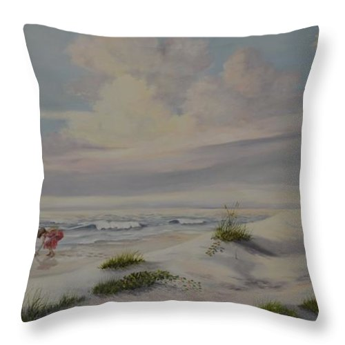 Landscape Throw Pillow featuring the painting Shadows In The Sand Dunes by Wanda Dansereau