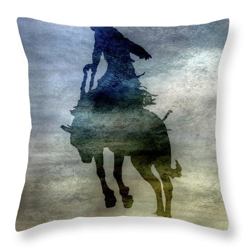 Shadows Of The Rodeo Throw Pillow featuring the digital art Shadows Of The Rodeo Two by Randy Steele