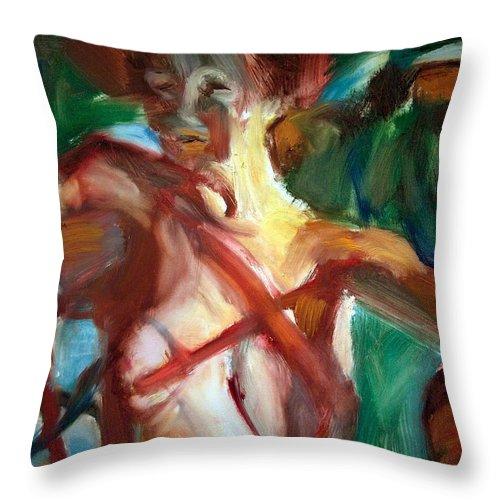 Dornberg Throw Pillow featuring the painting Shadows On A Nude by Bob Dornberg