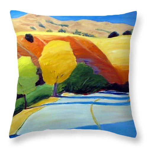 Road Throw Pillow featuring the painting Shadows on Metcalf Road by Gary Coleman
