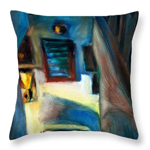 Dornberg Throw Pillow featuring the painting Shadows On The Down Stairs by Bob Dornberg
