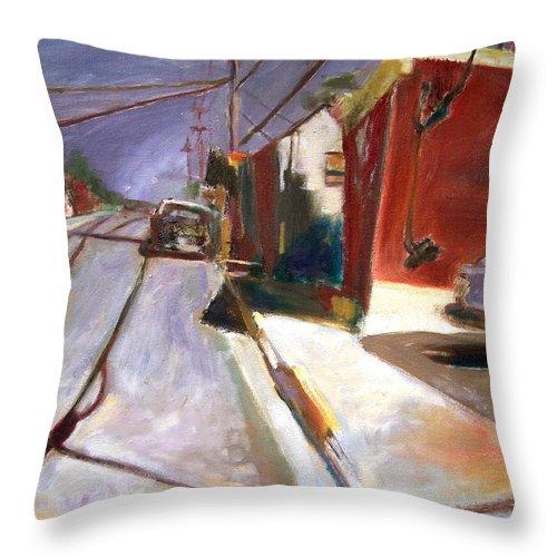 Dornberg Throw Pillow featuring the painting shadows on the Street by Bob Dornberg