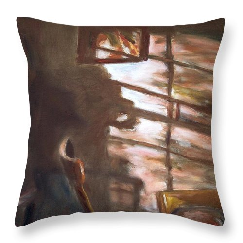Dornberg Throw Pillow featuring the painting Shadows On The Wall by Bob Dornberg