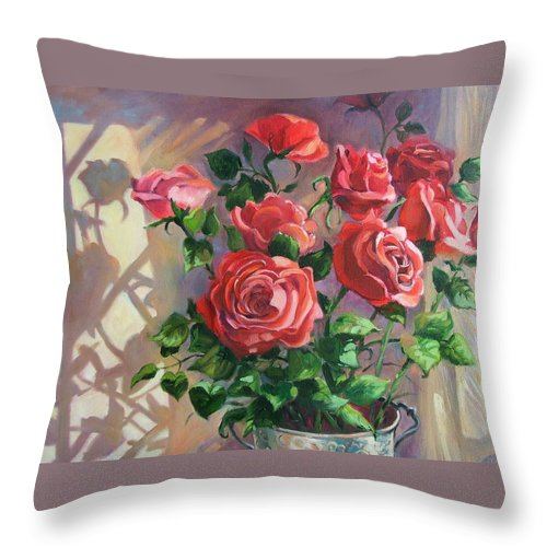Oil Painting Throw Pillow featuring the painting Shadows On The Wall by Dianna Willman