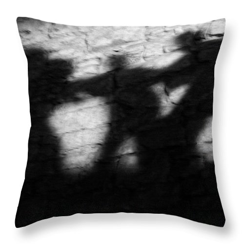 Wall Throw Pillow featuring the photograph Shadows On The Wall Of Edinburgh Castle by Christine Till