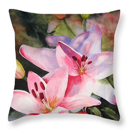 Lilies Throw Pillow featuring the painting Shady Ladies by Karen Stark