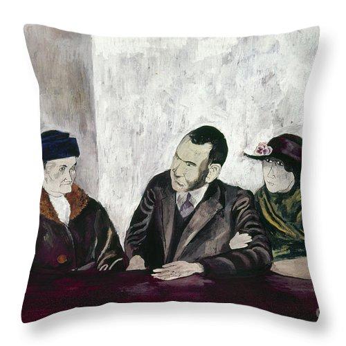 20th Century Throw Pillow featuring the photograph Shahn: Man & Women by Granger