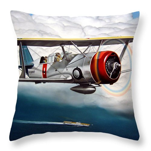 Aviation Throw Pillow featuring the painting Shakedown Cruise by Marc Stewart
