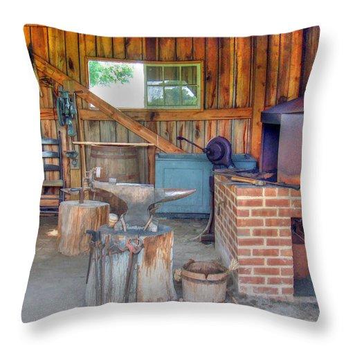 Shaker Throw Pillow featuring the photograph Shaker Blacksmith Barn by Sam Davis Johnson