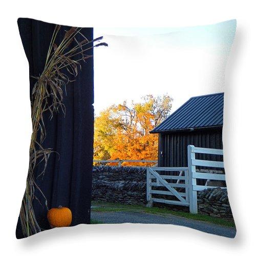 Shaker Throw Pillow featuring the photograph Shaker Fall Decor 2 by Sam Davis Johnson