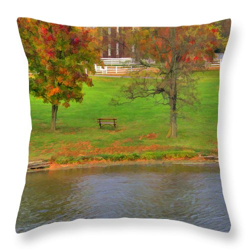 Shaker Throw Pillow featuring the photograph Shaker Geese 2 by Sam Davis Johnson