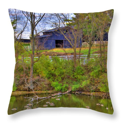 Shaker Throw Pillow featuring the photograph Shaker Lake Geese by Sam Davis Johnson