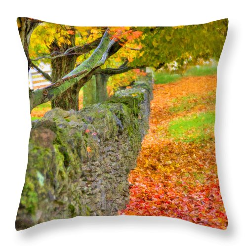 Shaker Throw Pillow featuring the photograph Shaker Stone Fence 3 by Sam Davis Johnson