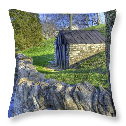 Shaker Throw Pillow featuring the photograph Shaker Stone Fence 6 by Sam Davis Johnson