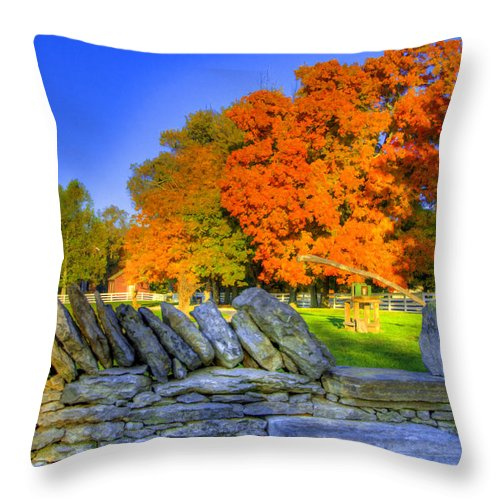 Shaker Throw Pillow featuring the photograph Shaker Stone Fence 7 by Sam Davis Johnson
