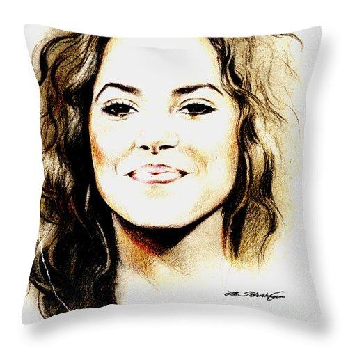 Shakira Throw Pillow featuring the drawing Shakira by Lin Petershagen