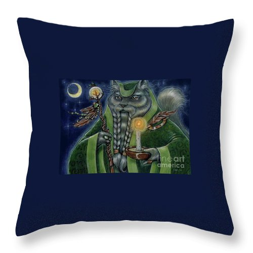 Cats Throw Pillow featuring the painting Shaman's Moon by Sin D Piantek