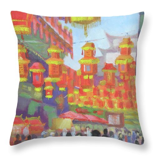 Shanghi Throw Pillow featuring the painting Shanghi Lanterns II by Robert P Hedden