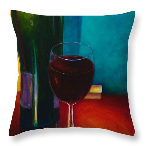 Wine Bottle Throw Pillow featuring the painting Shannon's Red by Shannon Grissom