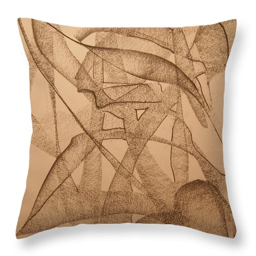 Abstract Throw Pillow featuring the drawing Shape by David Barnicoat
