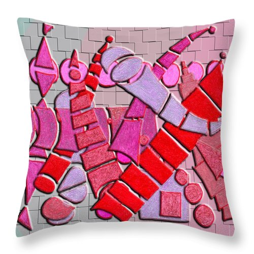 Abstract Throw Pillow featuring the digital art Shape Sets In Red by Mark Sellers