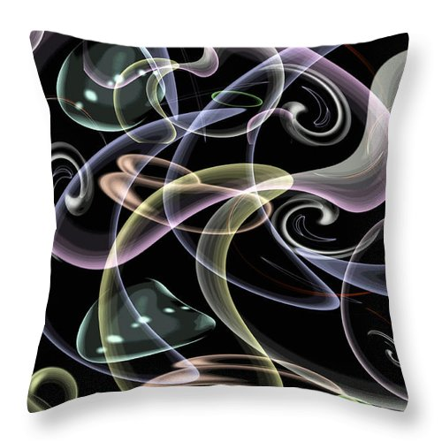 Digital Art Throw Pillow featuring the digital art Shapes Of Fluidity by Kaye Menner