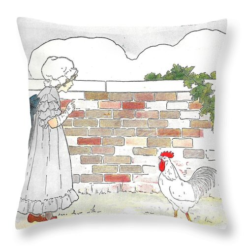 Bed Throw Pillow featuring the drawing Shara And The Rooster by Lord Frederick Lyle Morris - Disabled Veteran
